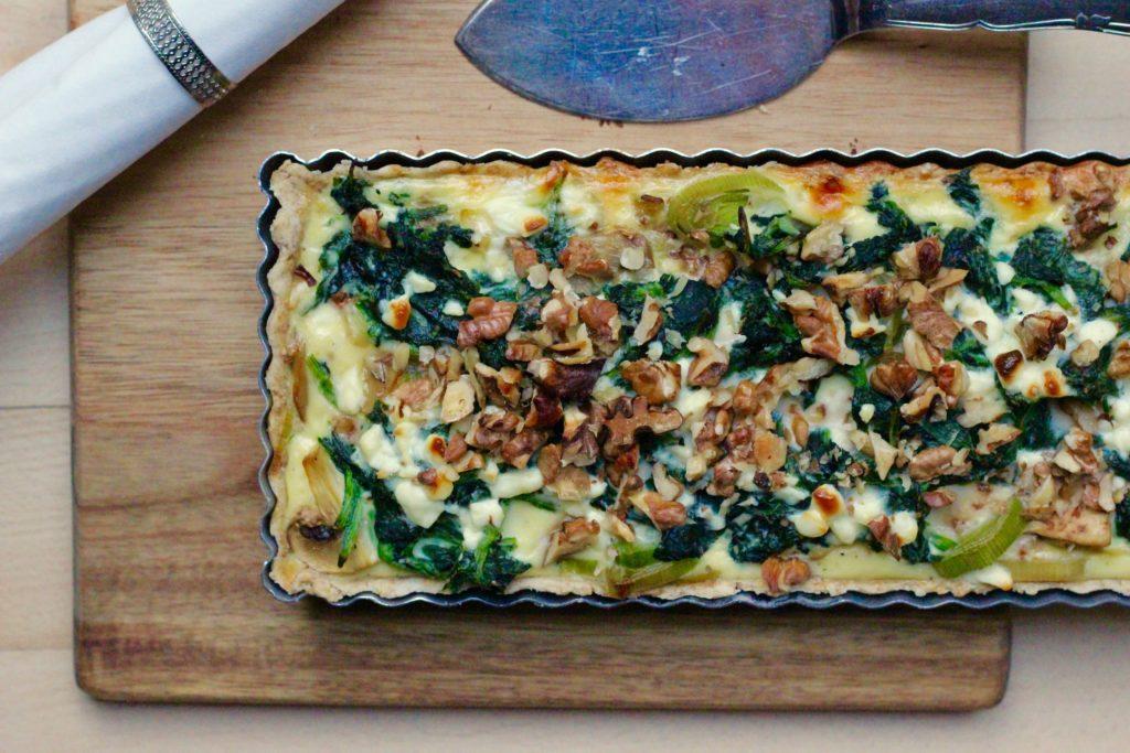Billede af Tærte med spinat, svampe og feta