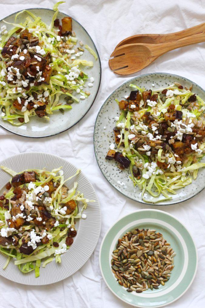 Billede af Speltsalat med spidskål og stegte aubergine