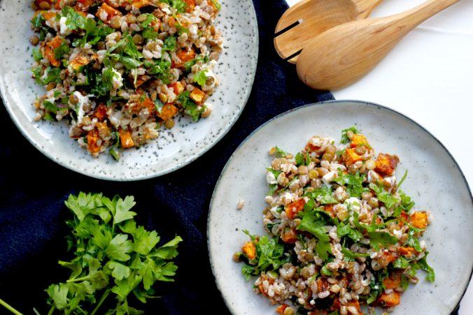 Billeder af Speltsalat med linser, sød kartoffel og feta