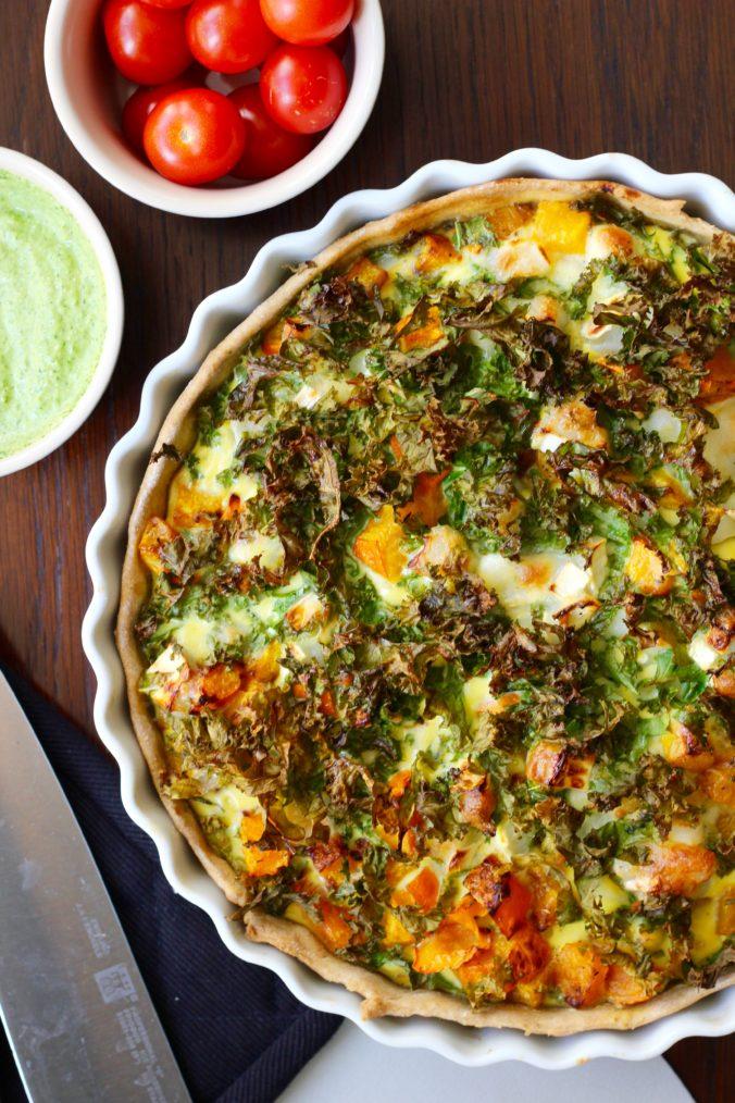 Billede af Tærte med græskar, grønkål og gedeost