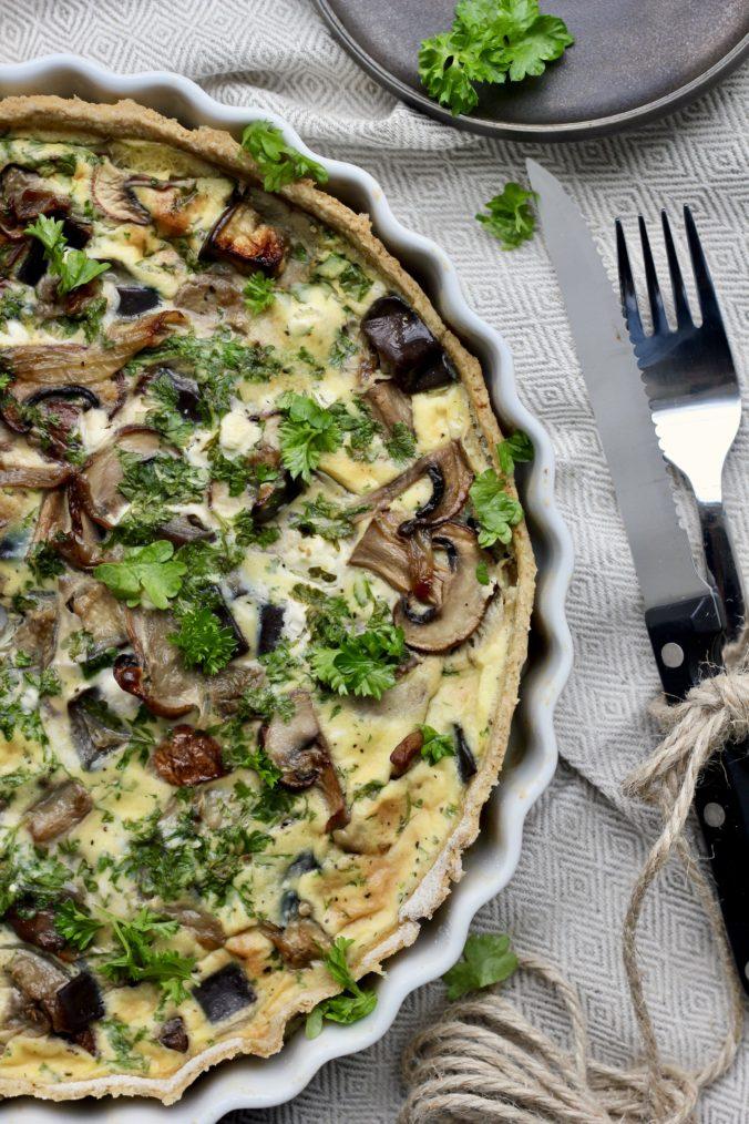 Billede af Tærte med stegte svampe og aubergine